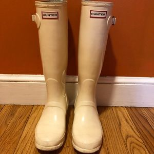 Tall white Hunter rain boots